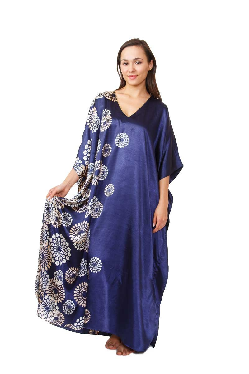 Up2date Fashion Navy Spheroid Floral Print Caftan, Plus Size, Style#Caf-59C2