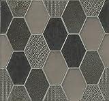 Bedrosians GLSPANVELRHP ''Panache'' Mosaic with Retro Hexagon Pattern on Sheet, 11-3/4'' x 12-3/4'', Velvet