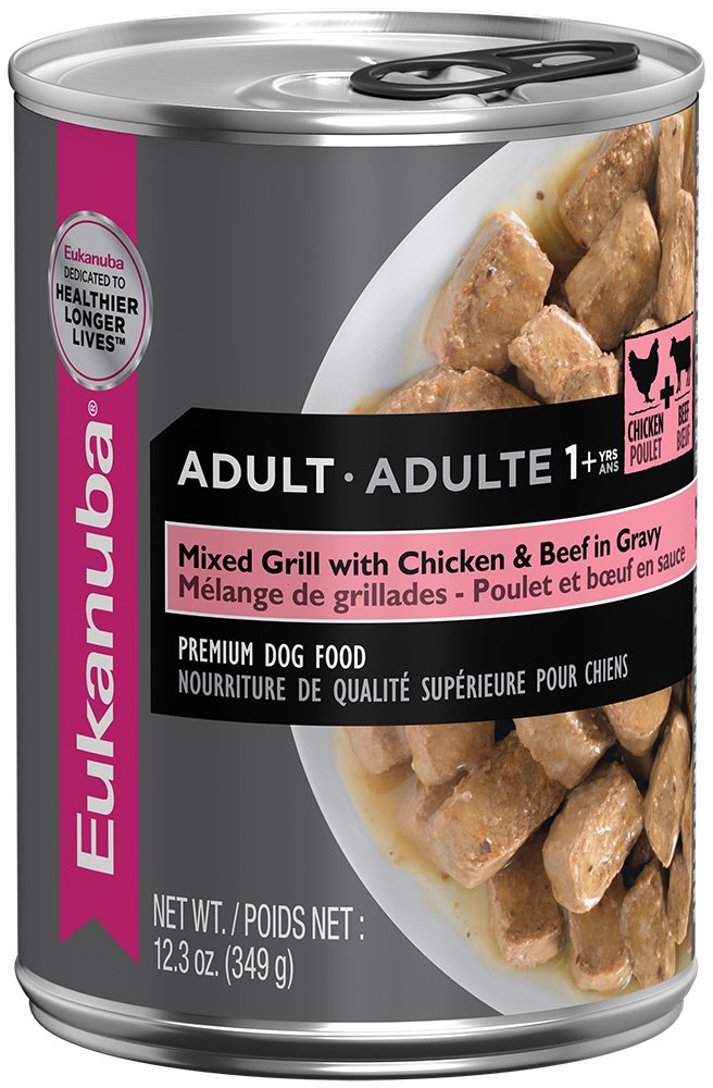 EUKANUBA Adult Mixed Grill with Chicken and Beef in Gravy Canned Dog Food 12.3 Ounces  (Pack of 12)