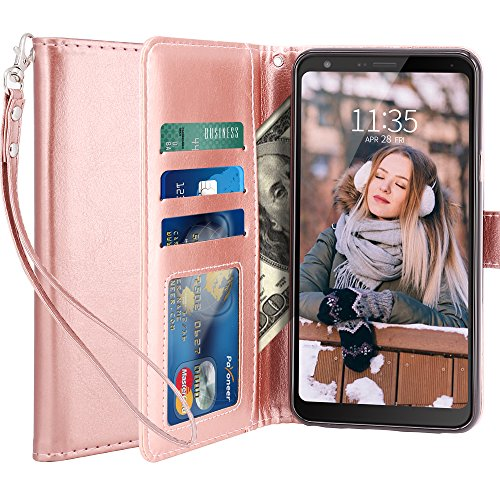 LG Stylo 4 Case, LG Q Stylus Case, LK [Wrist Strap] Luxury PU Leather Wallet Flip Protective Case Cover with Card Slots and Stand for LG Stylo 4/LG Q Stylus - Rose Gold ()
