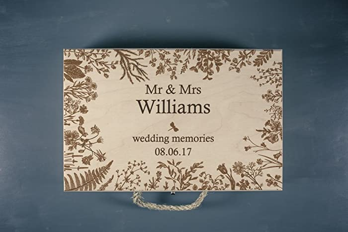 Amazon.com: Large Wedding Keepsake Box - Wedding Memory Box ...