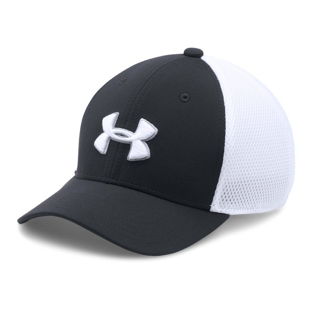 Under Armour Boys' Classic Mesh Golf Cap, Black (001)/White, Youth Small/Medium by Under Armour