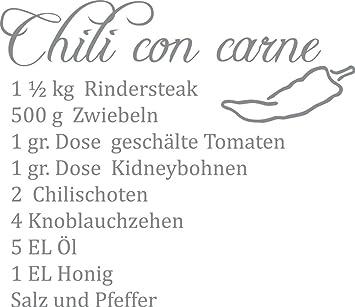 GRAZDesign Wandtattoo Küche Sprüche Chili - Wandtatoo Küche Chili con carne  - Wanddeko Ideen Rezept - Wandtattoo Küche Sprüche / 46x40cm / ...