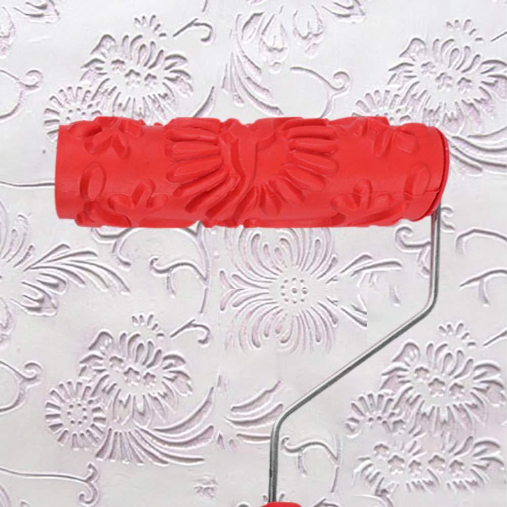 housesweet Brosse /À Rouleaux en Caoutchouc Emboss/é Flowe en Bois Motif De Grainage Peinture Murale D/écoration DIY Outil