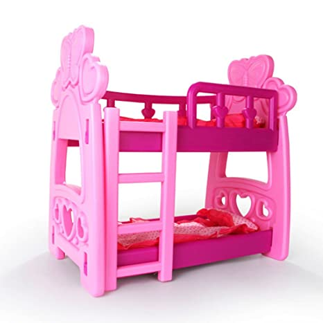 19.69 Inch Cute Doll Furniture Bunk Beds Set Plastic Double Bed Frame For  Big Doll Bedroom