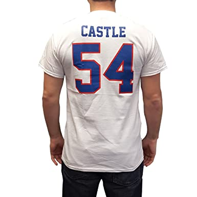 Image Unavailable. Image not available for. Color  Thad Castle  54 Mountain  Goats White Jersey T-Shirt Blue State Football Costume 3f6e07460