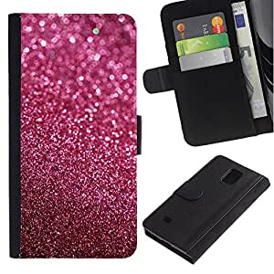KingStore / Leather Etui en cuir / Samsung Galaxy Note 4 IV / ??Rosa púrpura de Bling Sand reflectante