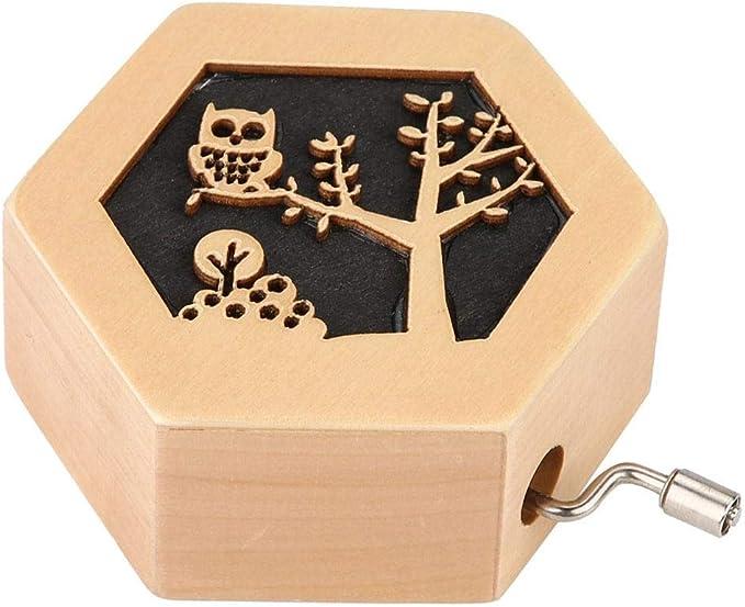 Duokon Caja de música de Madera Tallada, clásica, Ligera, con manivela, Caja Musical (búho): Amazon.es: Hogar