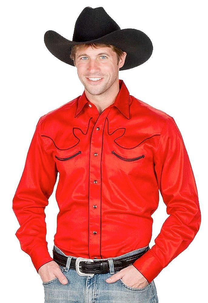 7ea1881a0 Sunrise Outlet Men s 100% Cotton Retro Western Cowboy Shirt at Amazon Men s  Clothing store
