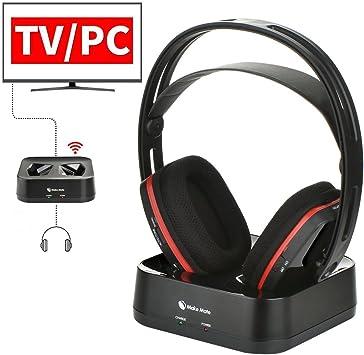 Auriculares inalámbricos para TV Watching, auriculares inalámbricos RF con transmisor RCH-900 auriculares estéreo de diadema, alcance inalámbrico de 100 pies y baterías recargables de 15 horas (no ópticas), color negro: Amazon.es: Electrónica