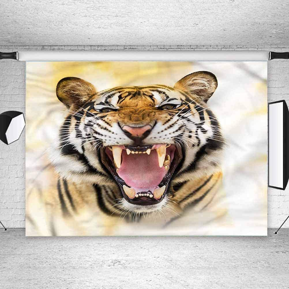 8x8FT Vinyl Photo Backdrops,Tiger,Young Panthera Growling Background for Selfie Birthday Party Pictures Photo Booth Shoot