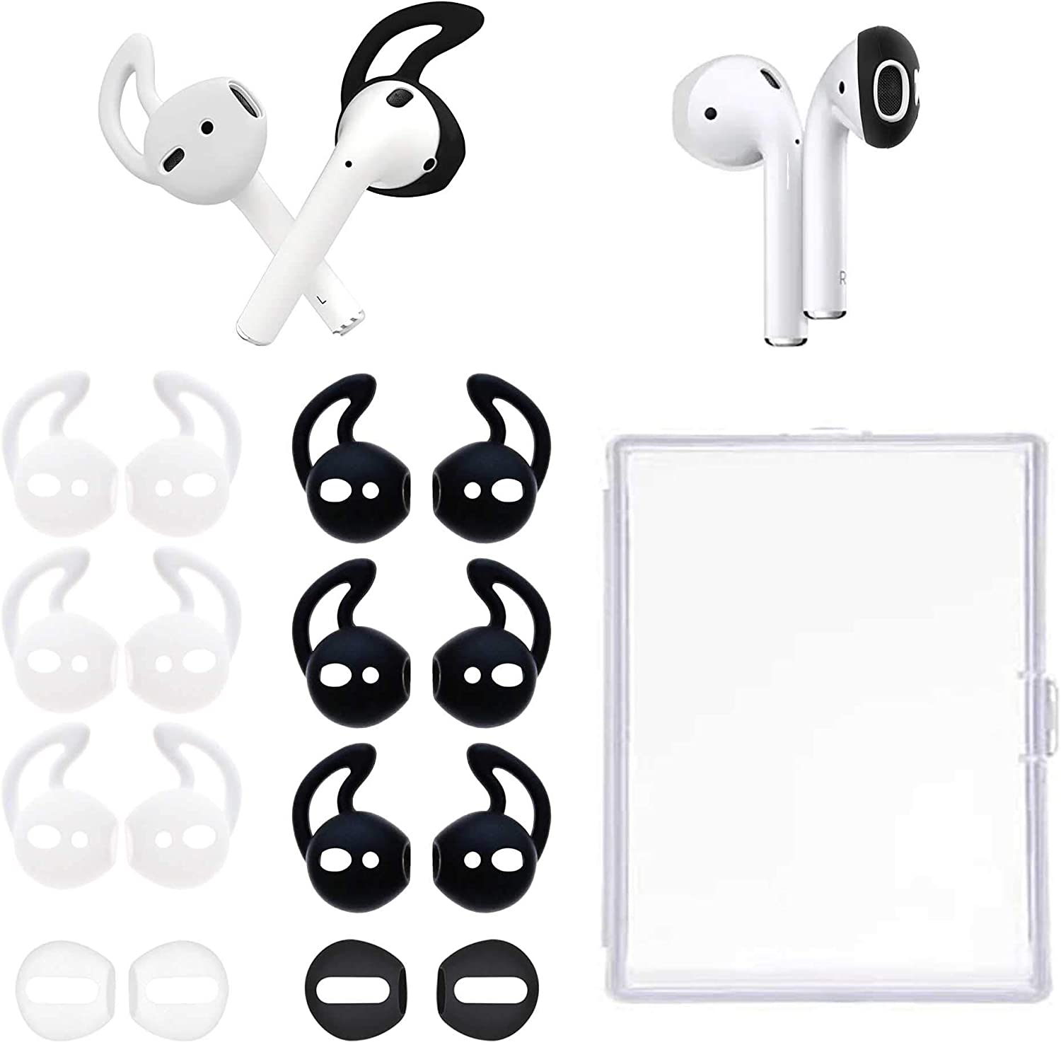 8 Pairs Ear Covers Ear Hooks Professional Anti-Slip Silicone Earbuds Tips Compatible with Apple Airpods 1&2 (White + Black)