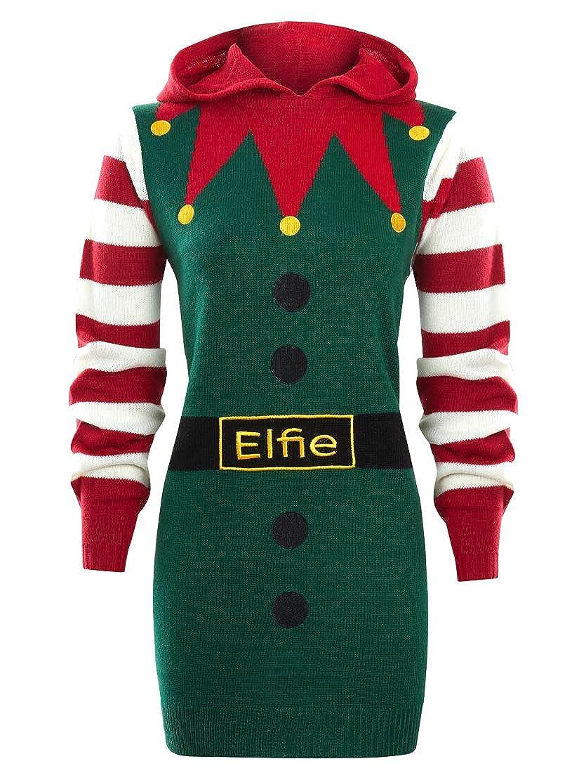 SS7 Womens Christmas Jumper Dress Elfie UK