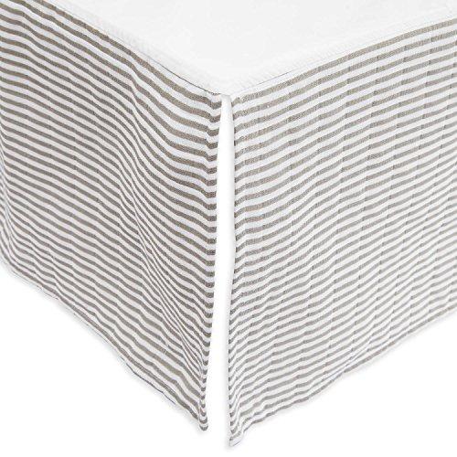 Little Unicorn Cotton Muslin Crib Skirt - Grey Stripe
