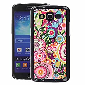 A-type Arte & diseño plástico duro Fundas Cover Cubre Hard Case Cover para Samsung Galaxy Grand 2 (Floral Pattern Drawing Pink Teal)