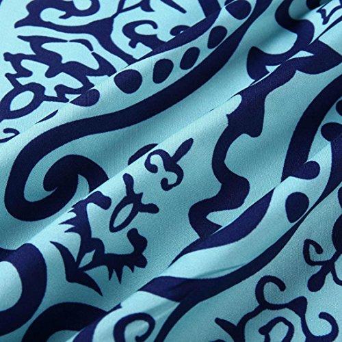 Corta De Casual con Corto Vestido Azul Verano Corta Manga De Manga Ansenesna Vestido con Hombro De Elegante Mujer Estampado dYqOvnWtt