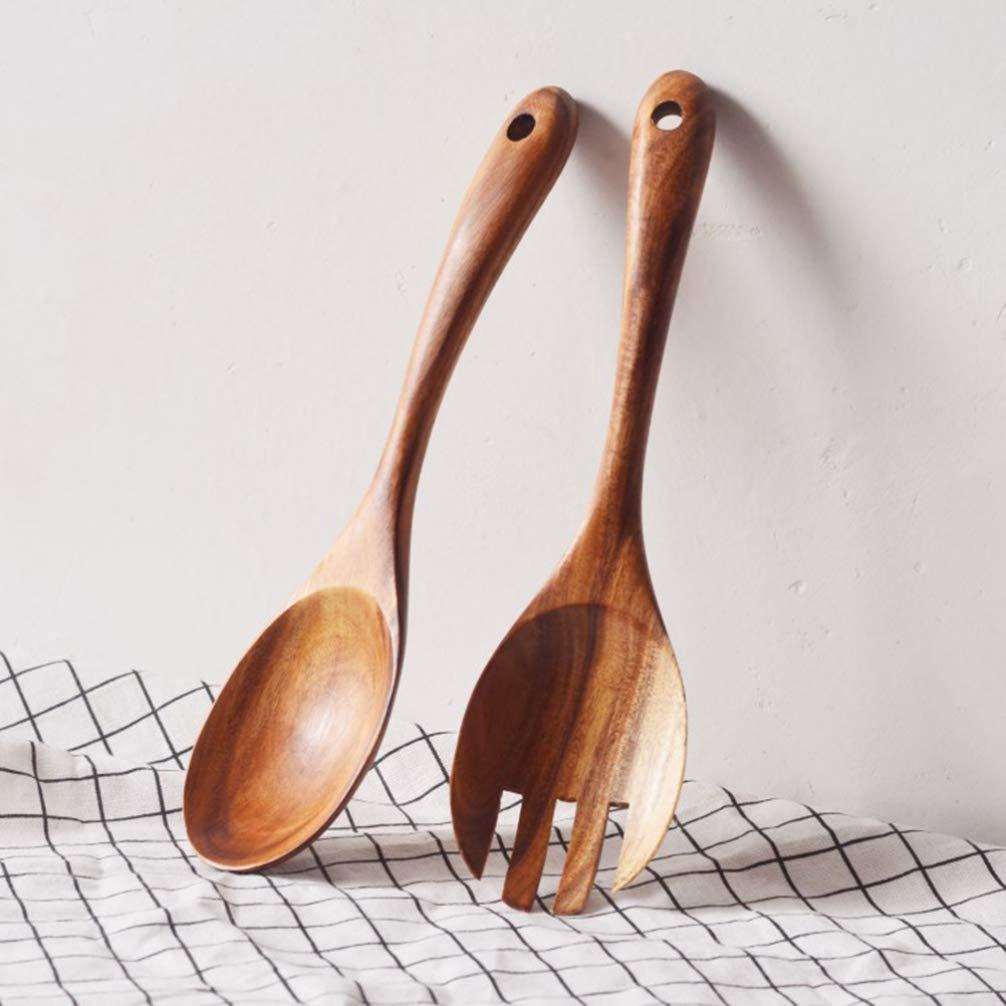Hemoton 2ST japanischen Stil Umweltfreundlich Natur Sicher Holz-Gabel-L/öffel Besteck Set f/ür Home Kitchen Restaurant