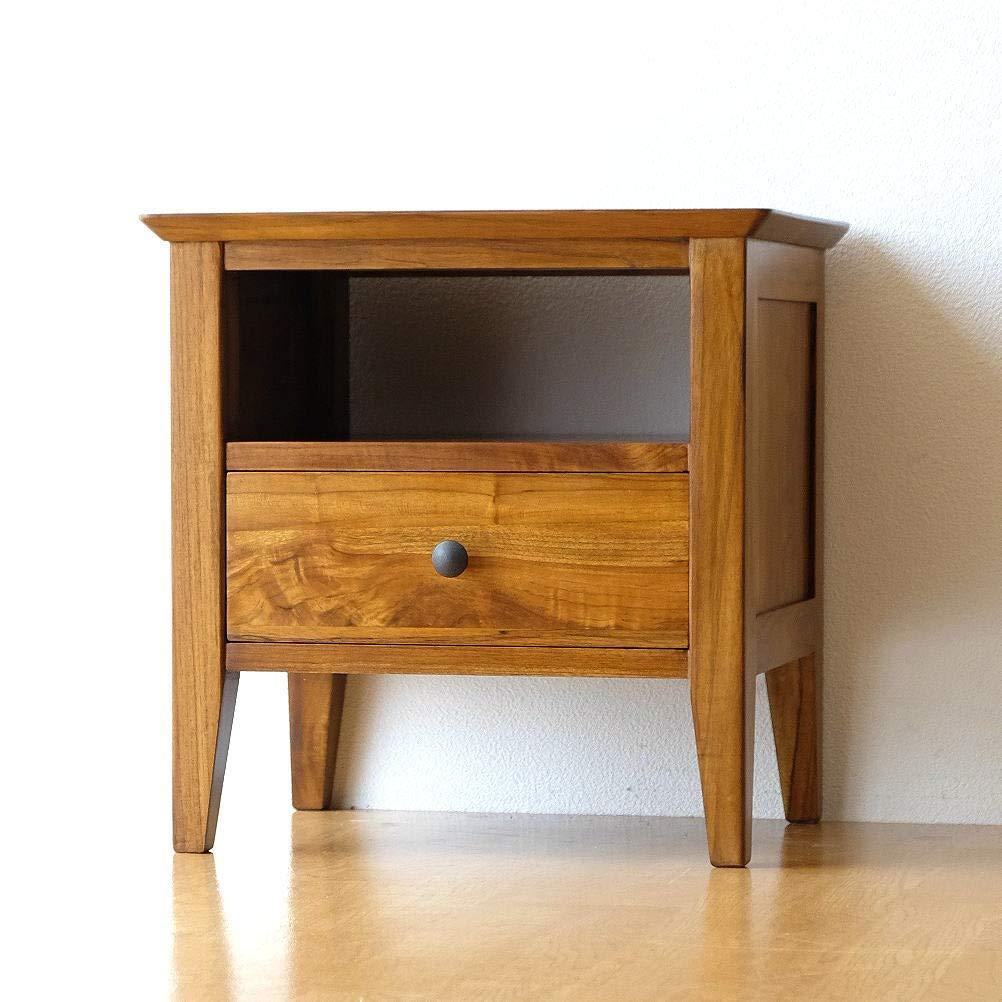 ナイトテーブル 無垢 ベッドサイドテーブル 木製 モダン おしゃれ チークサイドテーブル45 [wat4510] B01G4UIBC8