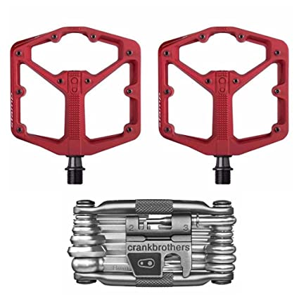 Crank Brothers Stamp 2 Lightweight Racing Bike Pedals Pair Red And M19 Bicycle Maintenance