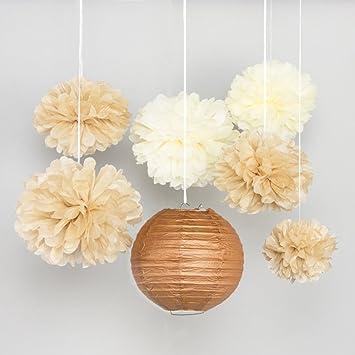 SUNBEAUTY 7er Set Braun PomPoms Lampion Dekoration Für Hochzeit Zimmer Deko
