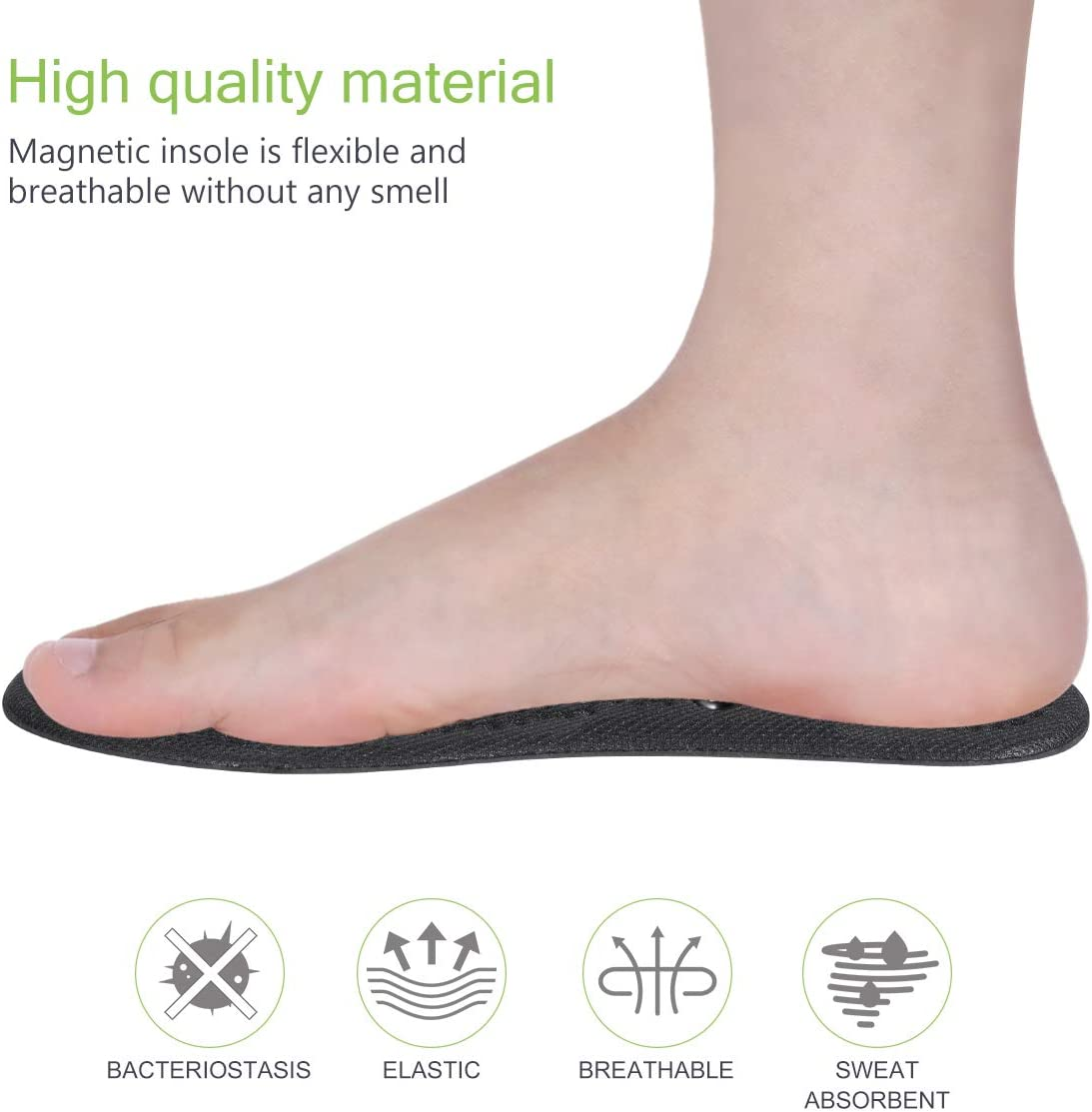 Pair of Therapy Insoles Cuttable Flexible Magnetic Clear Inserts for Foot Health