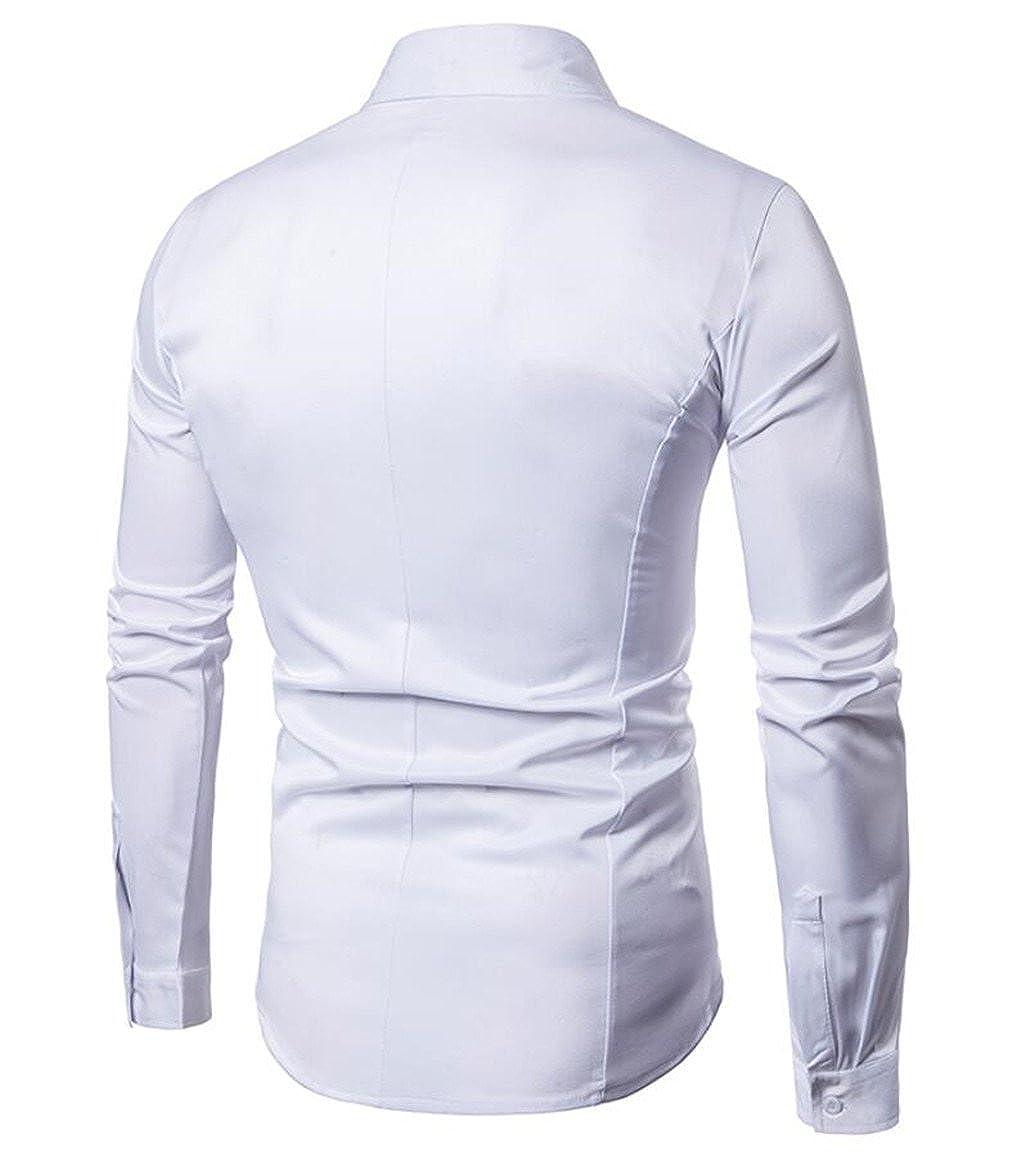 desolateness Mens Pure Color Lapel Irregular Hem Splice Long Sleeve Slim Fit Dress Shirt