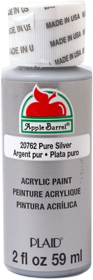Apple Barrel Acrylic Paint in Assorted Colors (2 oz), 20762, Pure Silver