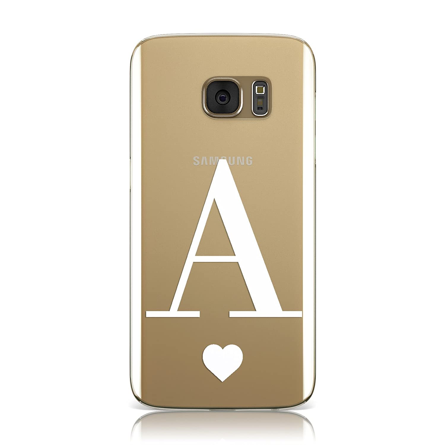 Dyefor PERSONALISED WHITE BIG INITIAL HEART CLEAR PHONE