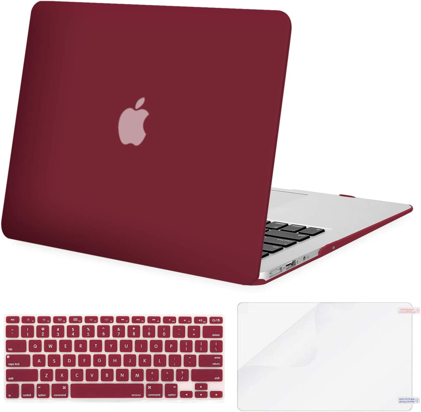 MOSISO Plastic Hard Shell Case & Keyboard Cover & Screen Protector Only Compatible with MacBook Air 13 inch (Models: A1369 & A1466, Older Version 2010-2017 Release), Wine Red