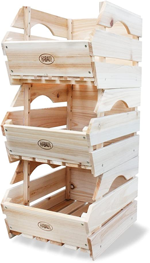 HABAU - Cajas de almacenaje para apilar (Madera, 3 Unidades ...