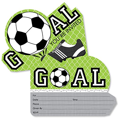 Goaaal - Soccer - Shaped Fill-in Invitations - Baby Shower or Birthday Party Invitation Cards with Envelopes - Set of 12