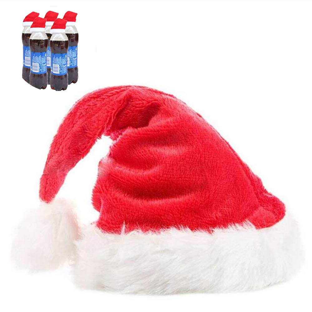YaptheS 1PC Christmas Mini Santa Hats for Champagne Flute Wine Glasses Decor Festive Decoration Hat Novelty Santa Hat for Christmas Party Supplies 2.7''x 5.1'' inches - Plush Christmas Style