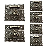 YES Time 6 Pcs 55x47mm Bronze Gift Box Rectangle Hasps Lock Latches