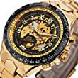 Caluxe Golden Men Watch Sports Military Skeleton Automatic Mechanical Watch Metal Strap 2017 Xmas Man Gift