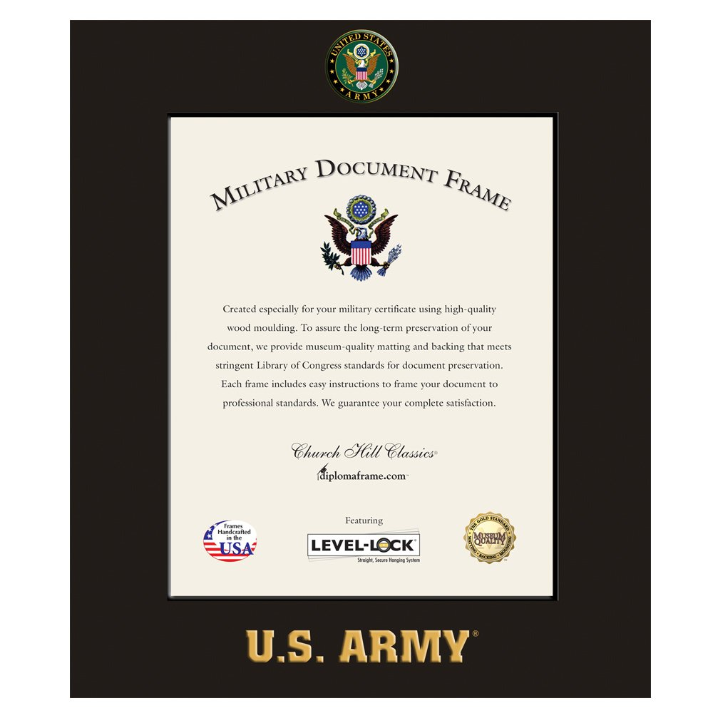 Church Hill Classics US Army Certificate Frame/Photo Frame - Wall Hanging, Black, Vertical Orientation - Official Army Logo and Word Mark (Certificate/Photo Size 8''x10'')