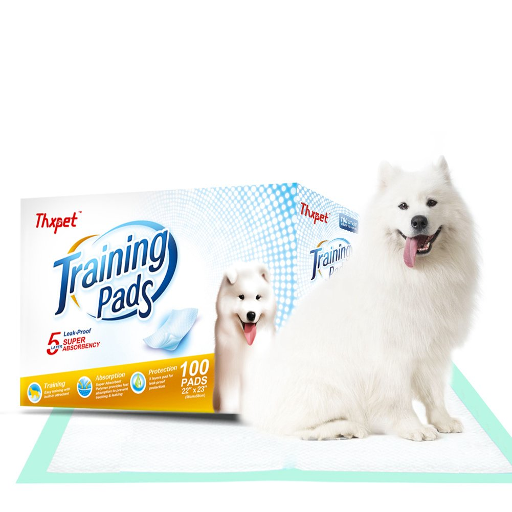 Thxpet Pet Puppy Training Pads 100 Count 22''x23'' Dog Pee Potty Pad Wee Wee Pad Super Absorbent Leak Proof