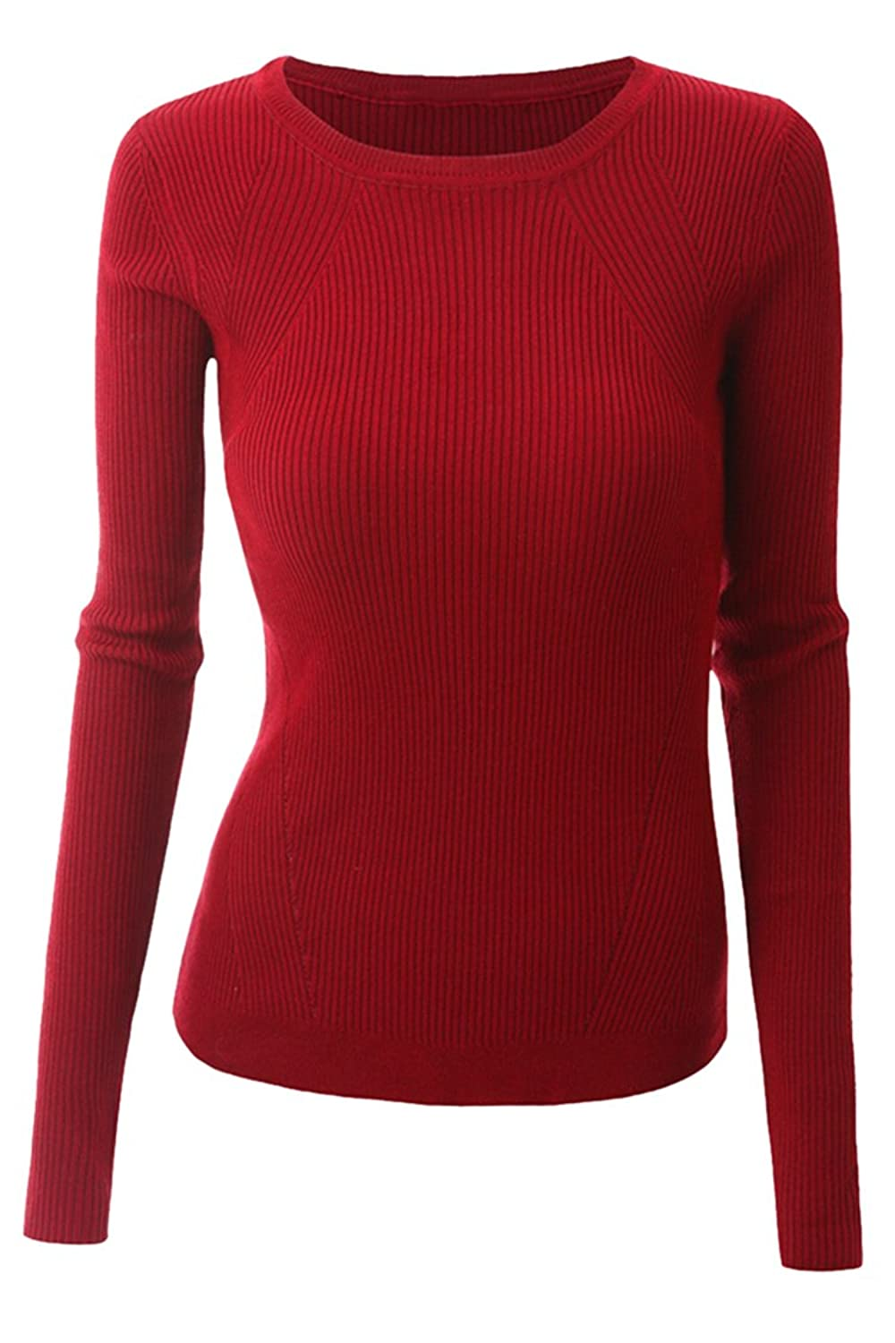 Sovoyant Women's Classic Round Neck Slim Fit Long Sleeve Knit Pullover Sweater