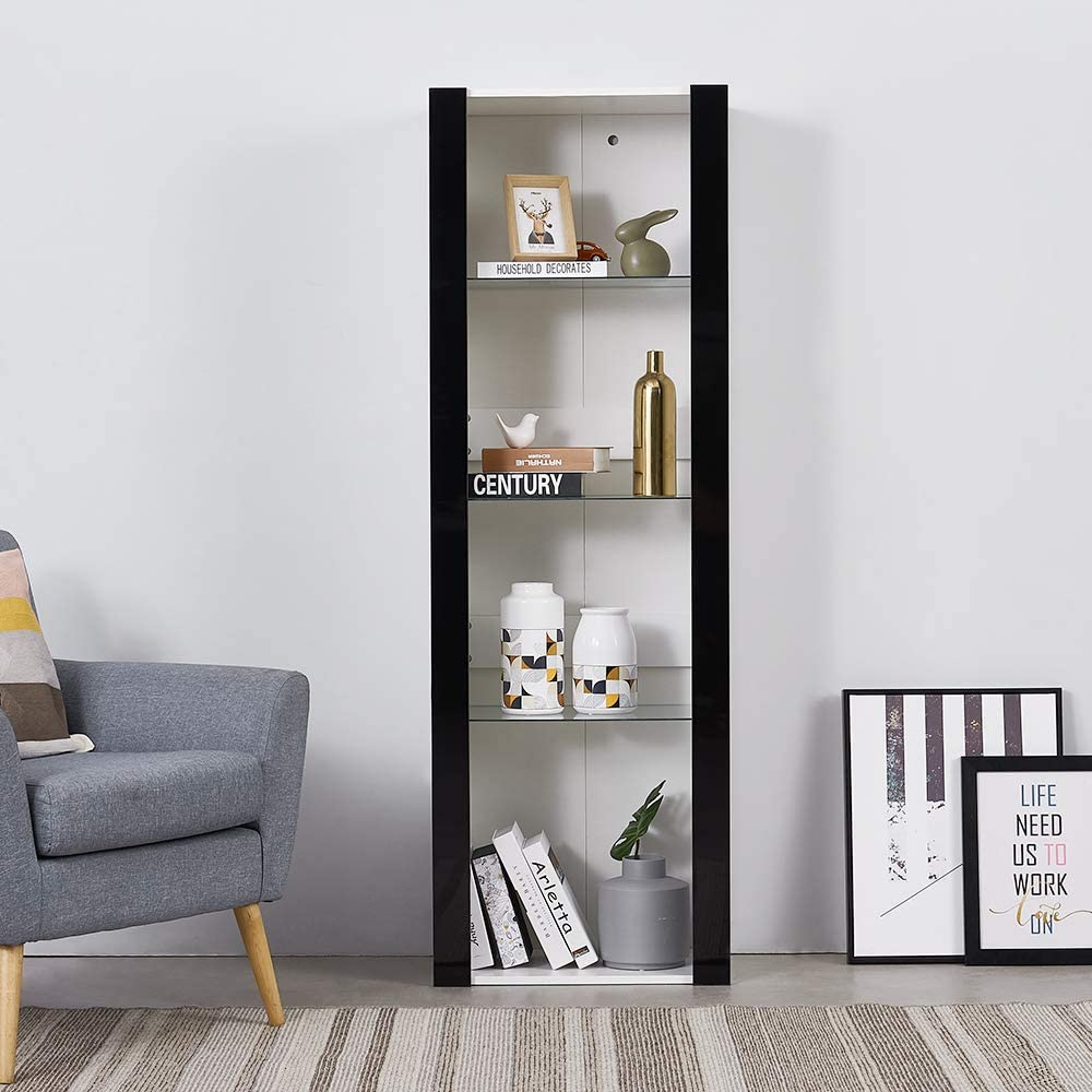 Panana Modern Living Room Cupboard, Display Unit Cabinet Sideboard Free Standing Bookcase Storage Unit 4 Compartments, 166X55X35CM (White) White+black