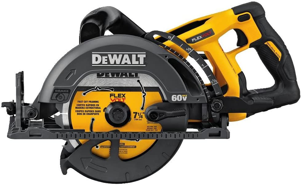 DEWALT FLEXVOLT 60V MAX Circular Saw for Framing, 7-1/4-Inch, Tool Only (DCS577B)