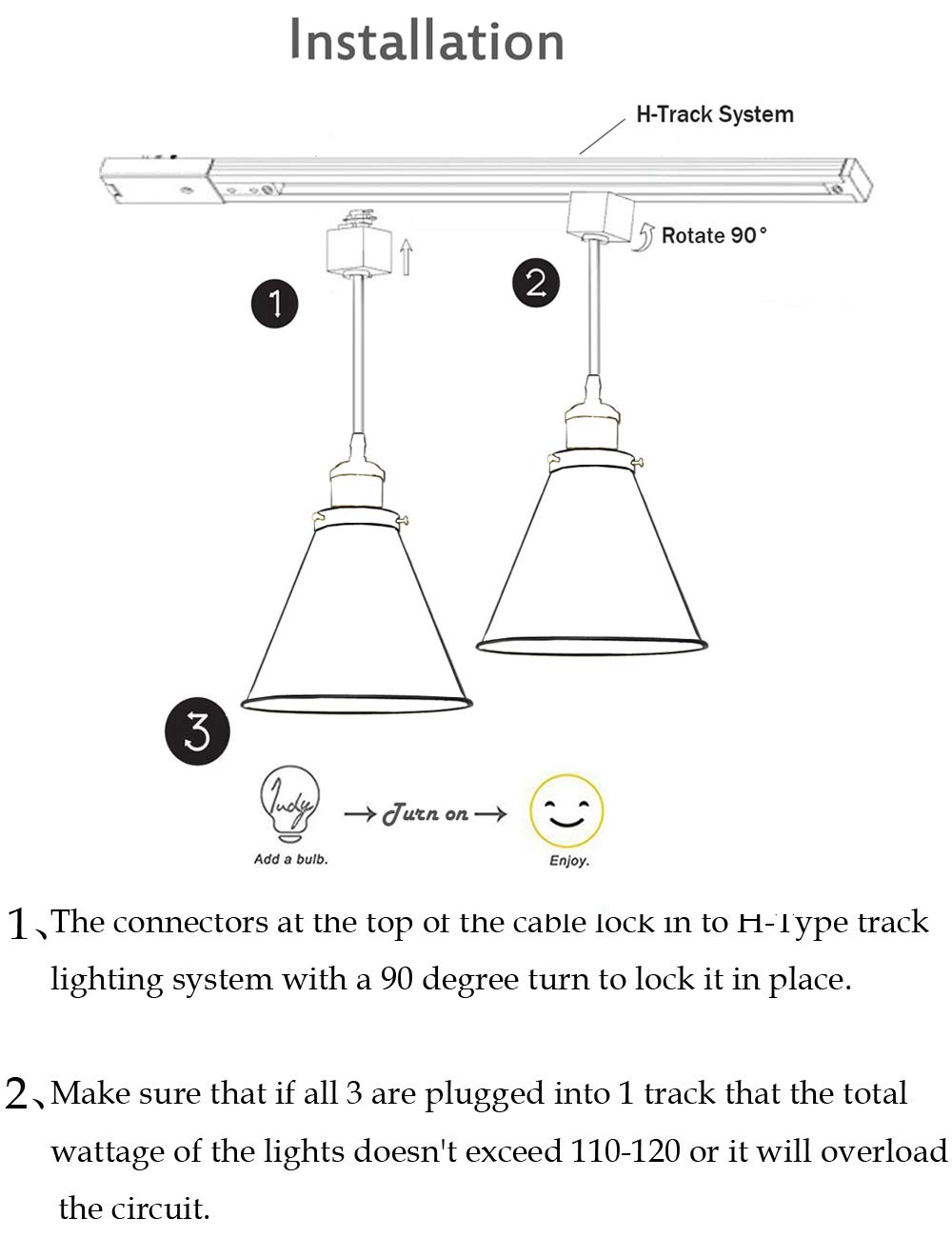 Kiven H-Type Track Lignting Pendant Antique Industrial Oil Rubbed Bronze Pendant Light 3 Pack,TB0132-B-80CM by Kiven (Image #5)