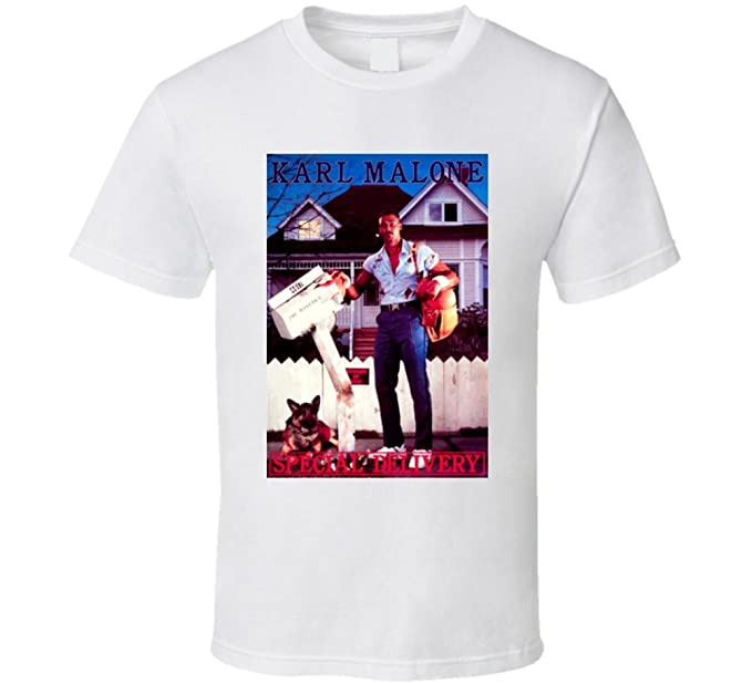timeless design cd0f4 d26e9 Retro 1980s The Mail Man Karl Malone Special Delivery T ...