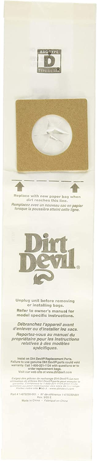Dirt Devil Type D Vacuum Bags (3-Pack), 3670147001