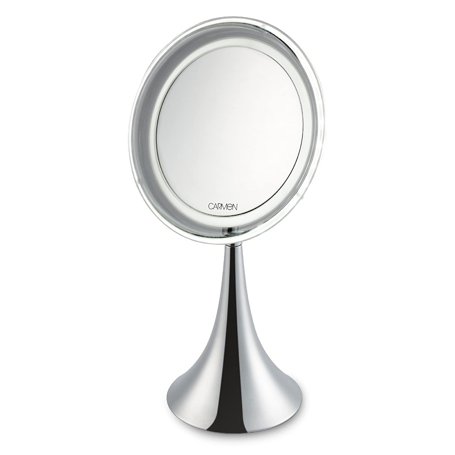 Carmen C85023 LED Illuminated Vanity Magnifying Mirror with 10 x Magnification and 24 LED Lights for Crystal Clear Results, Battery Powered in a Chrome Finish, White RKW