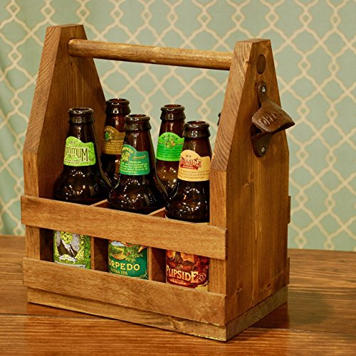 Handmade Wooden Beer Carrier / Caddy / Tote Six Pack Holder – Personalization Available