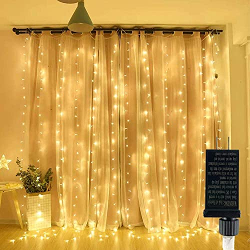 300 LED Curtain String Lights Plug in Window Fairy Lights 9.8 ft 9.8 ft Waterproof Twinkle Lights 8 Modes Hanging Lights for Indoor Outdoor Wall Bedroom Party Wedding Backdrop Decor-Warm White