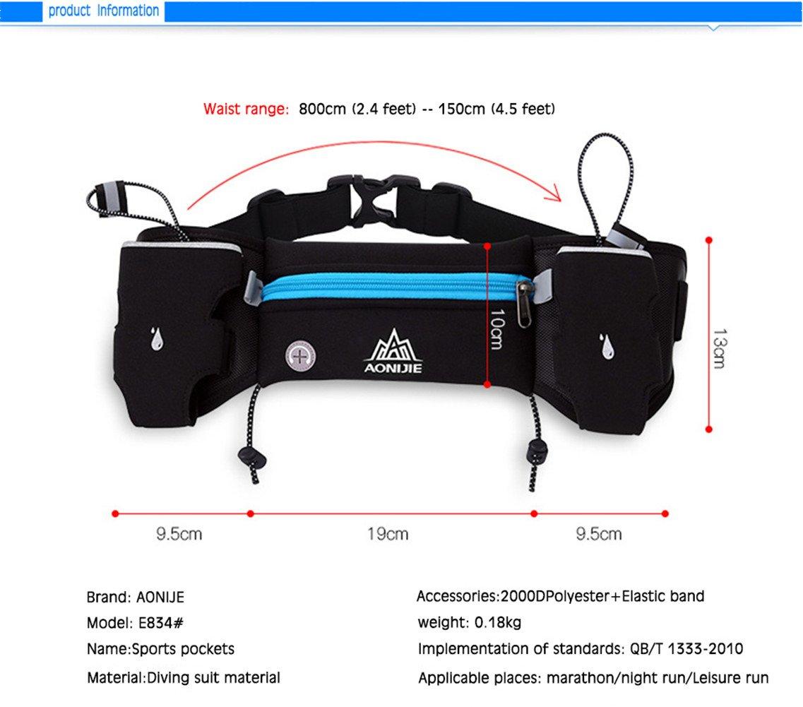 Aonijie Men Women Adjustable Running Marathon Waist Pack Belt Bum Bag Blue Green Storage Pockets With 2250ml Water Bottles Black Sports Outdoors