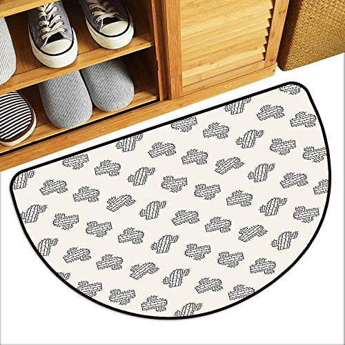 YOFUHOME Cactus Outdoor Door mat Monochrome Doodle South American Plants with Simplistic Style Exotic Sketch Pattern Antifouling W29 x L17 Cream Black (Best Selling Front Load Washer)