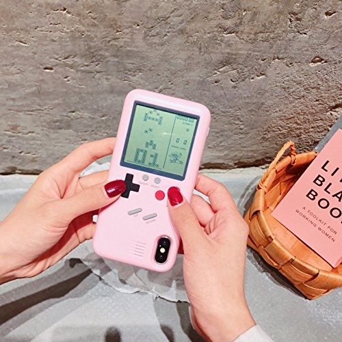 Pink Iphone Jacket - Pink Game Boy Case with Real Games for Apple iPhone X iPhoneX Hard Plastic Material 3D Cartoon Shockproof Protective Cool Fun Cute Lovely Fashion Hot Gift Girls Teens Kids Women