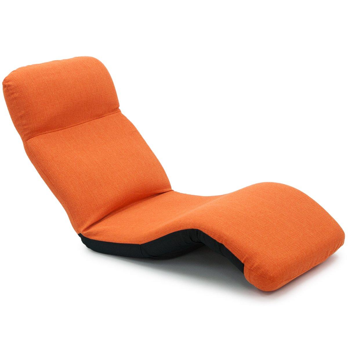 ヤマザキ 座椅子 オレンジ サイズ:(約) 幅60×奥行き108(108~166)×高さ79cm/座面高さ 12cm/座面内寸 幅60×奥行き80cm/背面内寸 幅60×長さ70cm/収納時 W60×D46×H80cm 産学連携 ymz-306 B06XYKF7F6 オレンジ オレンジ