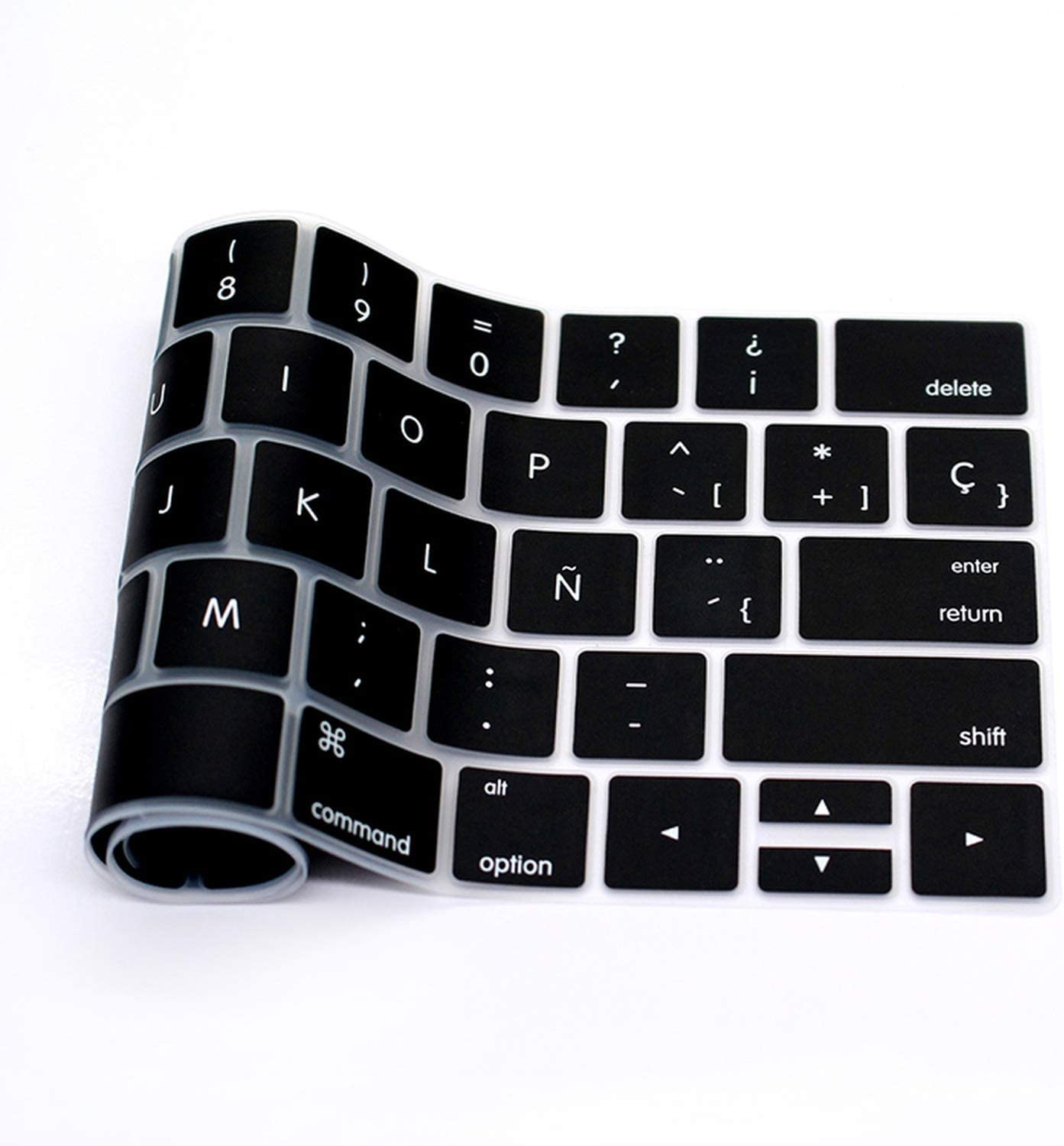 Spanish Silicone Keyboard Cover Stickers Protector Skin Compatible for Mac Pro 13 15 A1706 A1707 A1989 A1990 with Touch Bar US Version